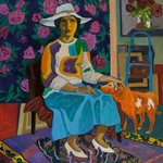 A lady with a red dog  By Moesey Li