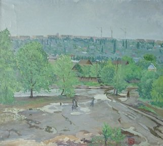 Moesey Li: 'After the rain', 1981 Oil Painting, Landscape. realism, landscape, puddle, trees, houses, people, Volgograd...