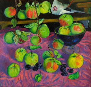 Moesey Li: 'Apples', 1991 Oil Painting, Food. realism, still life, apples, vase...
