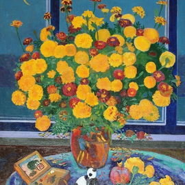 Moesey Li: 'Autumn bouquet', 1995 Oil Painting, Floral. Artist Description: realism, still life, flowers, table, pomegranate, toy, window, moon...