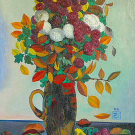 Moesey Li: 'Autumn flowers and leaves ', 1990 Oil Painting, Floral. Artist Description: realism, still life, flowers, leaves, vase, book...