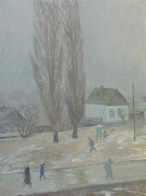 Moesey Li: 'Bad weather', 1998 Oil Painting, Seasons. realism, landscape, bad weather, poplar, house, people...