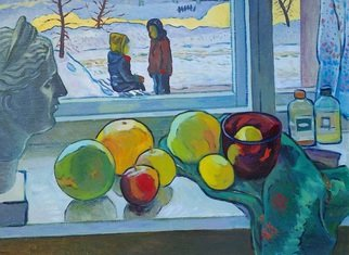 Moesey Li: 'Children appointment', 1990 Oil Painting, Children. Artist Description: realism, genre painting, children, appointment, winter, studio...
