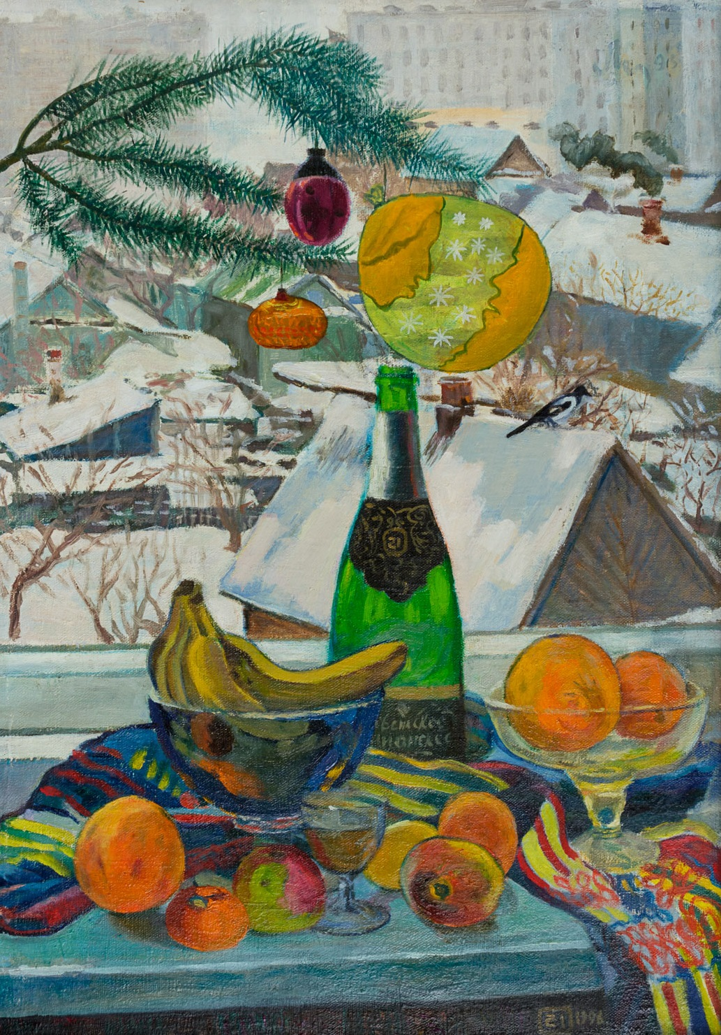 Moesey Li: 'Christmas still life', 1996 Oil Painting, Holidays. Artist Description: realism, still life, Christmas, new year, holiday, window, houses, magpie...