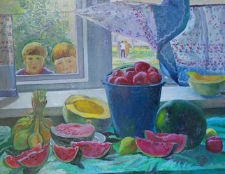 Moesey Li: 'Curiosity', 1985 Oil Painting, Children. Artist Description: realism, genre painting, curiosity, children, tomatoes, watermelon...