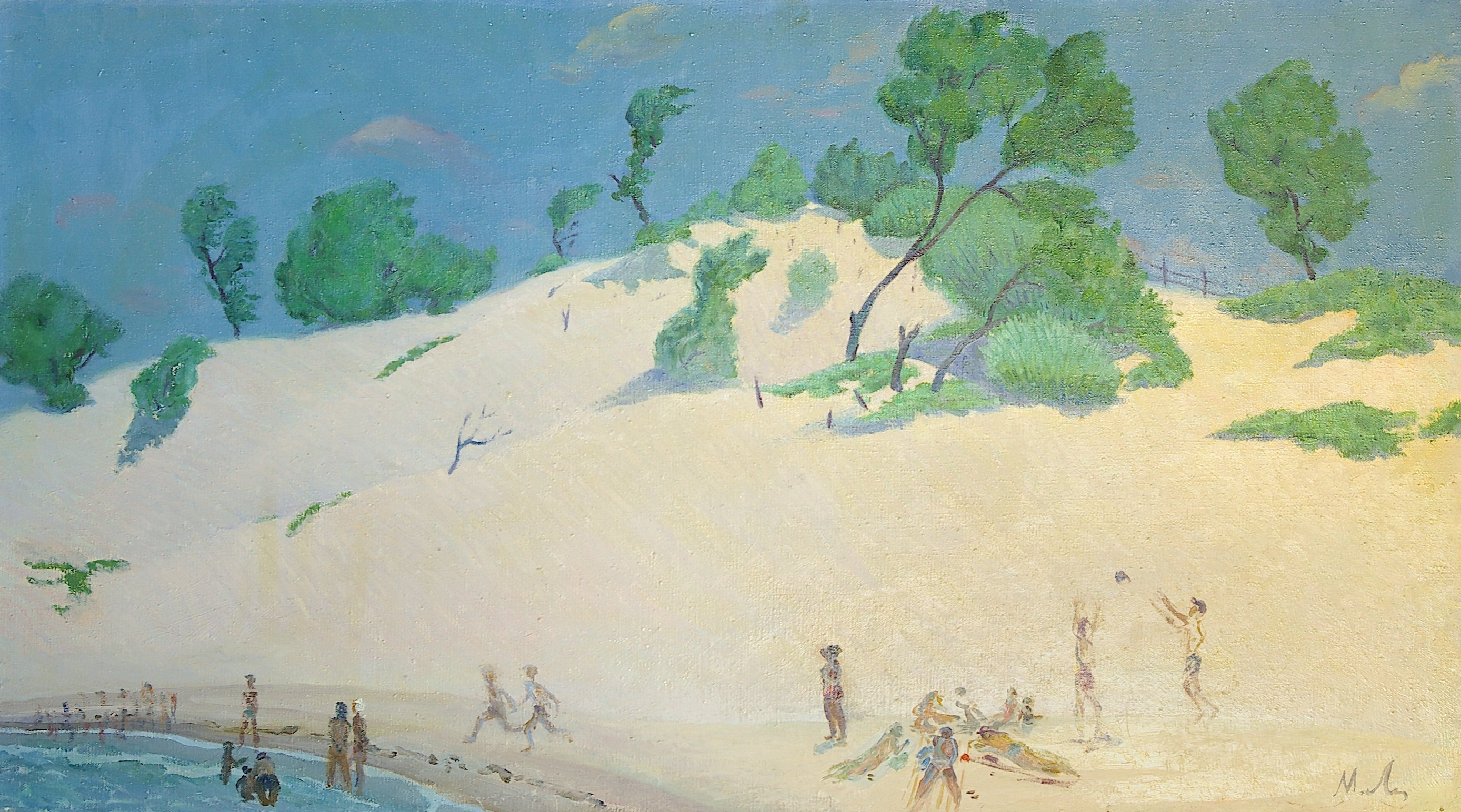 Moesey Li: 'Dunes', 1983 Oil Painting, Beach. Artist Description: realism, landscape, beach, people, sea, trees, dunes...