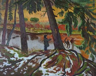 Moesey Li: 'Early snow', 1983 Oil Painting, Children. realism, genre painting, snow, boy, squirrel, river, trees, meadow...