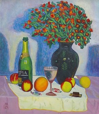 Moesey Li Artwork Festive table, 1992 Oil Painting, Floral