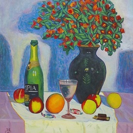 Moesey Li: 'Festive table', 1992 Oil Painting, Floral. Artist Description: realism, still life, table, candies, champagne, flowers...