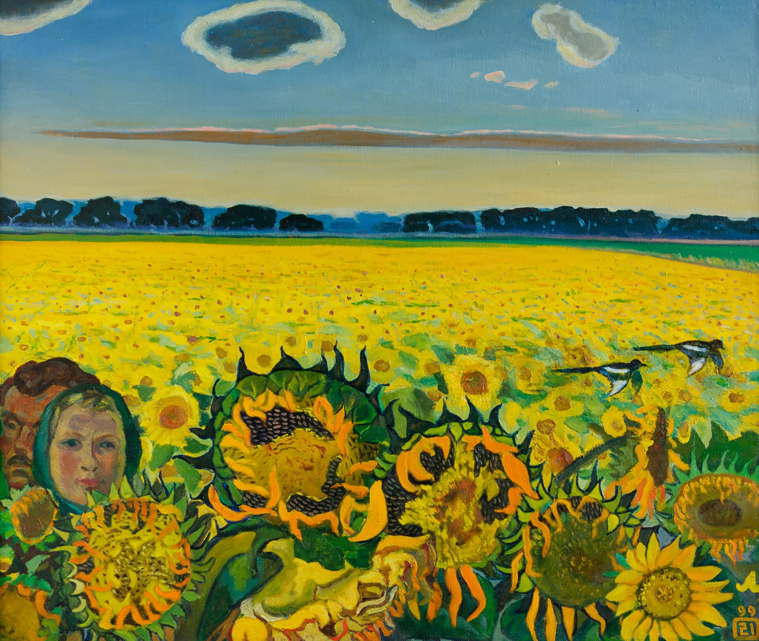 Moesey Li Artwork Field of sunflowers, 1999 Oil Painting, Landscape