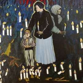Moesey Li: 'In memory of the victims', 1999 Oil Painting, Spiritual. Artist Description: In memory of the victims of repressionrealism, genre painting, women, boy, candles, memory...