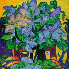 Moesey Li: 'Lilac', 2005 Oil Painting, Floral. Artist Description: realism, still life, flowers, lilac...