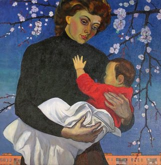 Moesey Li: 'Motherhood', 1993 Oil Painting, Family. Artist Description: realism, genre painting, mother, baby, tree, building...