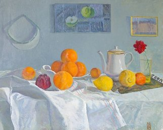 Moesey Li: 'Oranges', 1980 Oil Painting, Food. realism, still life, oranges, lemons, pomegranate, flower, teapot...