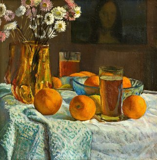 Moesey Li: 'Oranges and flowers ', 1971 Oil Painting, Floral. Artist Description: realism, still life, oranges, flowers, tea, tablecloth, painting...