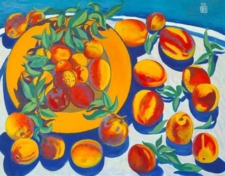 Moesey Li: 'Peaches', 1995 Oil Painting, Food. realism, still life, peaches, leaves, plate, tablecloth...