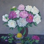 Peonies and a lemon By Moesey Li