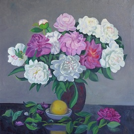 Moesey Li: 'Peonies and a lemon', 1993 Oil Painting, Floral. Artist Description: realism, still life, peonies, lemon, table, vase...