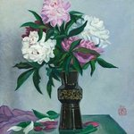 Peonies in a black vase By Moesey Li