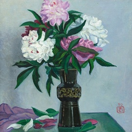 Moesey Li: 'Peonies in a black vase', 1990 Oil Painting, Floral. Artist Description: realism, still life, peonies, vase, table...