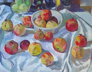 Moesey Li: 'Pomegranates', 1983 Oil Painting, Food. realism, still life, pomegranates, apples, tablecloth...