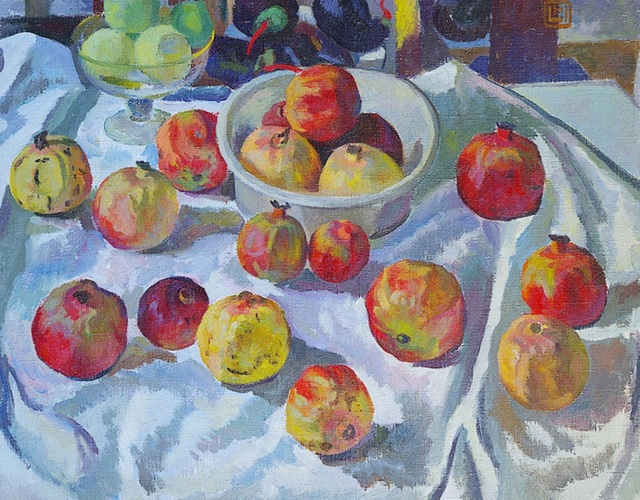 Moesey Li  'Pomegranates', created in 1983, Original Painting Oil.