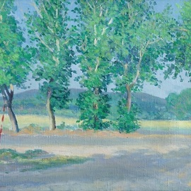 Moesey Li: 'Poplars in Anapa', 1985 Oil Painting, Trees. Artist Description: realism, landscape, poplar, road, Anapa...
