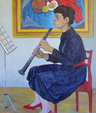 Moesey Li: 'Repetition', 1983 Oil Painting, Music. Artist Description: realism, genre painting, repetition, woman, musician, notes...