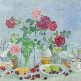 Moesey Li: 'Roses on my table ', 1980 Oil Painting, Floral. Artist Description: realism, still life, roses, table, cherry, dishes...