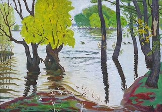 Moesey Li: 'Spill of the river Don', 1992 Oil Painting, Landscape. Artist Description: realism, landscape, river, spill, Don, ducks, trees...