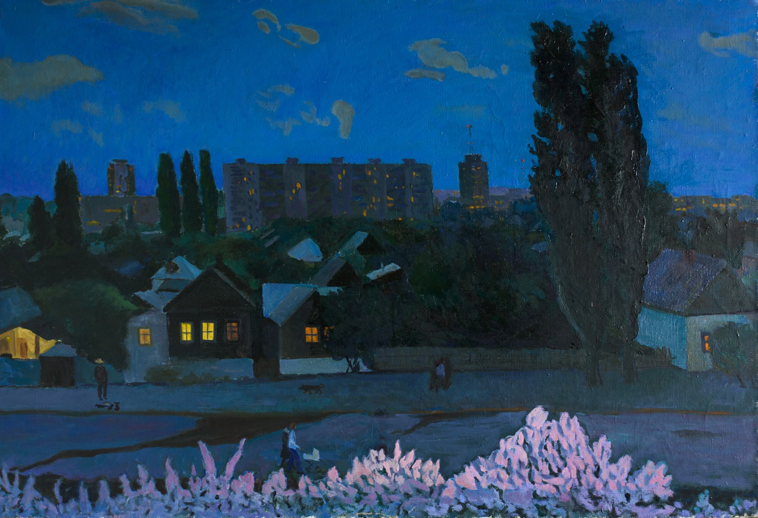 Moesey Li: 'Spring evening', 1986 Oil Painting, Seasons. realism, landscape, spring, evening, trees, houses...