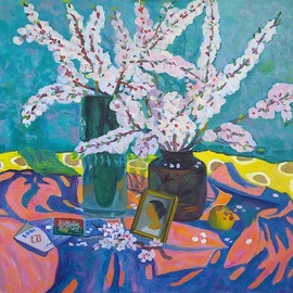 Moesey Li: 'Spring still life ', 2001 Oil Painting, Floral. Artist Description: realism, still life, spring, flowers, apricot, vase, apple...