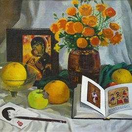 Moesey Li: 'Still life with a book', 1989 Oil Painting, Still Life. Artist Description:  realism, still life, book, icon, flowers, vase, apples...