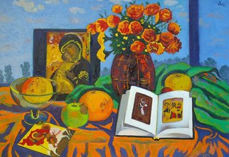Moesey Li: 'Still life with an icon ', 1999 Oil Painting, Religious. Artist Description: realism, still life, icon, book, flowers...