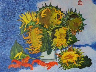Moesey Li: 'Sunflowers and crayfish ', 1993 Oil Painting, Still Life. Artist Description: realism, still life, sunflowers, crayfish, clouds, sky...