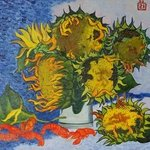Sunflowers and crayfish  By Moesey Li