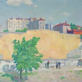 Moesey Li: 'Urban landscape', 1979 Oil Painting, Cityscape. Artist Description: realism, landscape, Volgograd, buildings, tree, people...