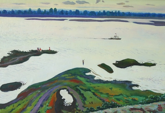 Moesey Li  'Volga River', created in 1995, Original Painting Oil.