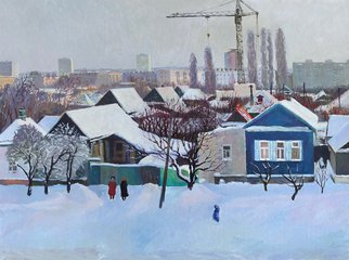 Moesey Li: 'Winter outside the window', 1985 Oil Painting, Landscape. realism, landscape, Volgograd, city, houses, winter, snow, people...