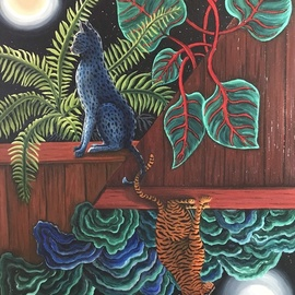 Monica Puryear: 'The Duo', 2019 Oil Painting, Cats. Artist Description: This piece depicts two cats that seem to be apart and yet are connected by their tails. ...