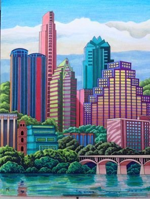 Monica Puryear: 'austin skyline', 2019 Pen Drawing, Cityscape. Artist Description: Austin is an iconic city known for its music and charm, I live nearby and drew this composite. ...