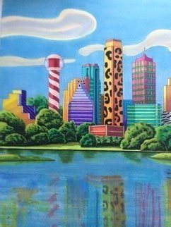 Monica Puryear: 'dallas in wonderland', 2019 Pen Drawing, Cityscape. Artist Description: This is my twist on the city of Dallas and it over the top reputation. ...