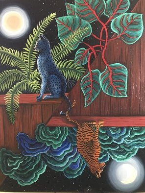 Monica Puryear: 'duo', 2019 Oil Painting, Cats. This piece depicts two cats who seem to be at different levels and yet are attached by their tails. ...