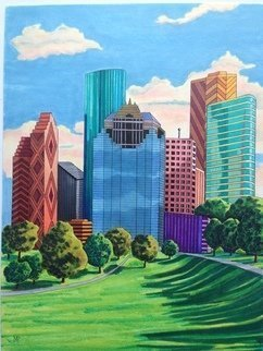 Monica Puryear: 'houston', 2019 Pen Drawing, Cityscape. Artist Description: Having lived in Houston I appreciate the architecture and wanted to pay tribute with this piece. ...