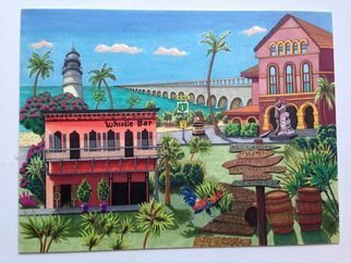 Monica Puryear: 'key west', 2019 Pen Drawing, Cityscape. Artist Description: One of my favorite cities, its unique charm and quirky features are displayed in this drawing. ...