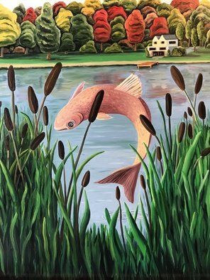 Monica Puryear: 'lake house', 2019 Oil Painting, Fish. This piece is a reminder of the place I grew up in by the lake, it s a very soothing scene. ...