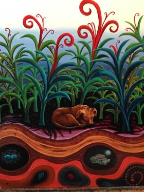 Monica Puryear: 'let sleeping dogs lie', 2019 Oil Painting, Dogs. This painting is my interpretation of what dogs might dream of, in this case my dog Howie. ...