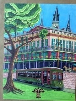 Monica Puryear: 'new orleans', 2019 Pen Drawing, Cityscape. Artist Description: This famous city is known for its southern charm and intricate buildings, I even included a ghost ...