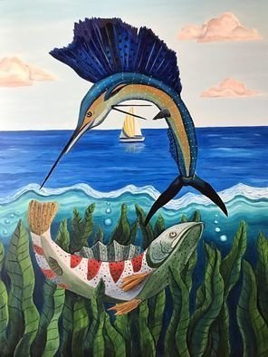 Monica Puryear: 'sailing', 2019 Oil Painting, Animals. Artist Description: This painting expresses the intersection of the Sailfish, salmonand sailboat. ...