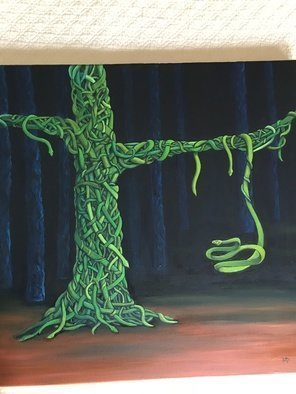 Monica Puryear: 'serpent tree', 2019 Oil Painting, Animals. Artist Description: This is my version of vines wrapped around trees, only they are snakes. ...